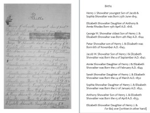 Showalter Family Genealogy, page 1